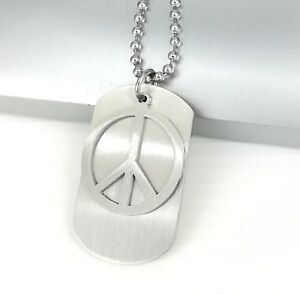"Silver Army Dog TAg Peace Stainless Steel Pendant 24"" 60cm Chain Surfer Necklace"
