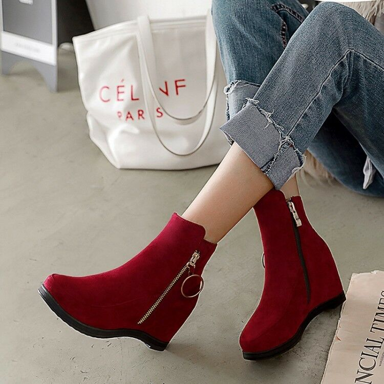 Women's Ankle Boots Hidden Wedge Heels Suede Round Toe Casual shoes Side Zip