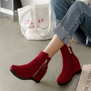 91fb0efff89f06 Women s Ankle Boots Hidden Wedge Heels Suede Round Toe Casual Shoes ...