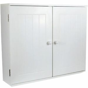 Details About Priano Wall Cabinet 2 Door White Storage Organiser Mounted Cupboard Bathroom
