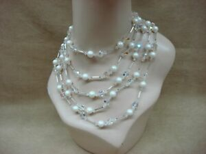 VINTAGE 1970S ERA 5 STRAND AB CRYSTAL & FAUX PEARL NECKLACE! RUNWAY SPECTACULAR