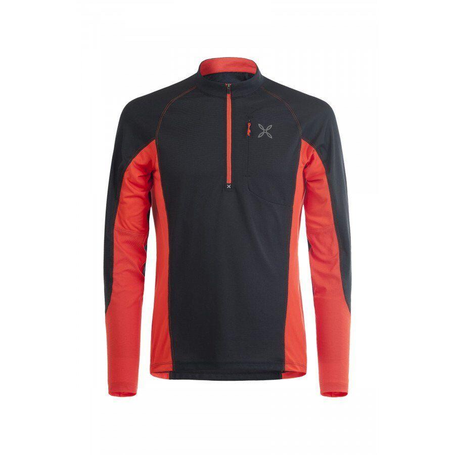 Montura Outdoor Pocket Zip T-Shirt nera rossa manica lunga