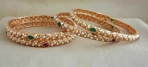 Gold Plated Indian Style Bridal 4 Bangle Kada Set Wedding Dulhan