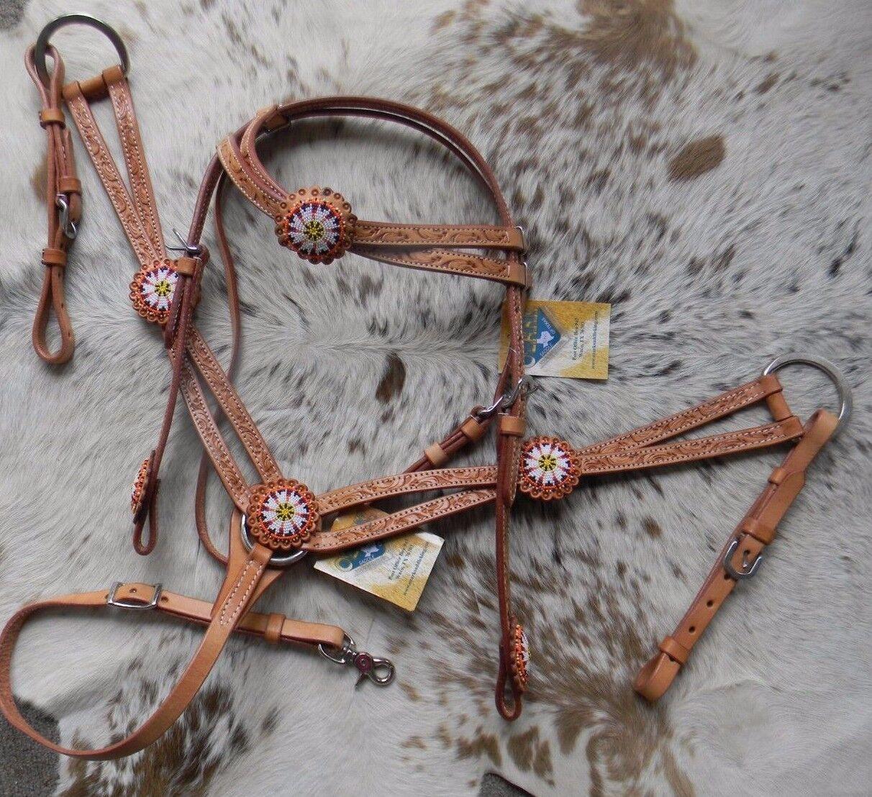 SALE  Beaded Light Oil Leather Western Horse Headsttutti & Breast Collar Set