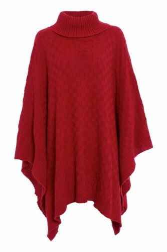 Plus Size Ladies Womens Grid Knitted Wrap Polo Neck Poncho Jumper Cape Shawls