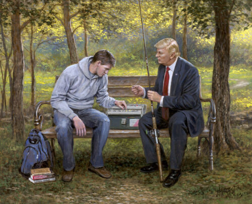 Jon McNaughton TEACH A MAN TO FISH 11x14 Donald Trump Fishing Pole Art Print