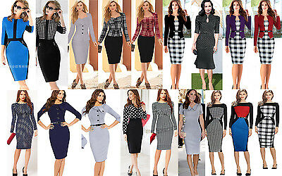 Celeb Style Dress Bodycon Pencil Fitted Office Shirt Skirt Holiday Black Red Top