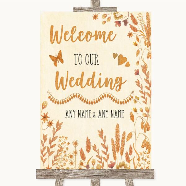2019 Ultimo Disegno Autumn Leaves Benvenuto Al Nostro Matrimonio Personalizzata Nozze Sign Materiali Accuratamente Selezionati