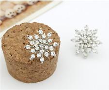 New Ladies Crystal Snowflake Bijoux Statement Stud Earrings Silver Jewelry Gift