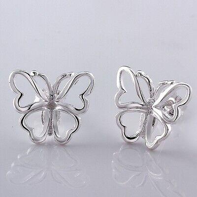 Women 925 Sterling Silver Plated Butterfly Fashion Cuff Dangle Studs Earrings