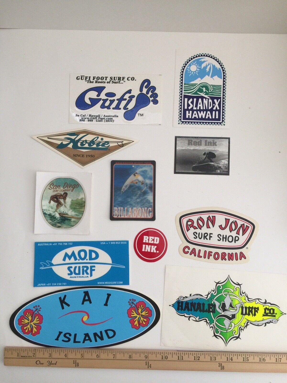 Vintage surfistas Pegatinas Calcomanías Lote 10 uno Lenticular Tag San Diego Ron Jon Surf