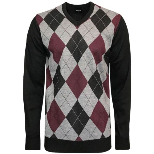 New Mens Diamond Argyle Jumper Knitted Crew Neck Sweater Top Pullover Soft M-XXL