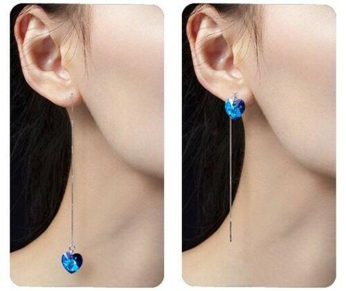 Cadena larga 925 plata azul corazón cristal durchzieher ohrdraht aretes