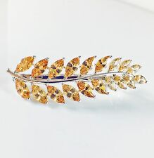 BARRETTE use Swarovski Crystal Hair Clip Hairpin Jeweled Elegant Brown Leaf C08