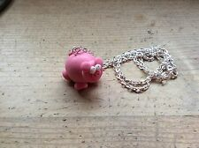 "necklace Pig Oink Handmade Easter Gift Farmer Cute Nickel Free 18"" Chain"