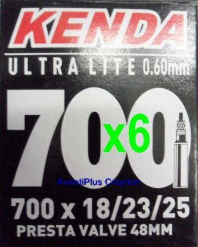 6x Kenda 700c PRESTA Ultra Lite Light Road Tube 700x18/23/25 F/V 48mm Valve 65g