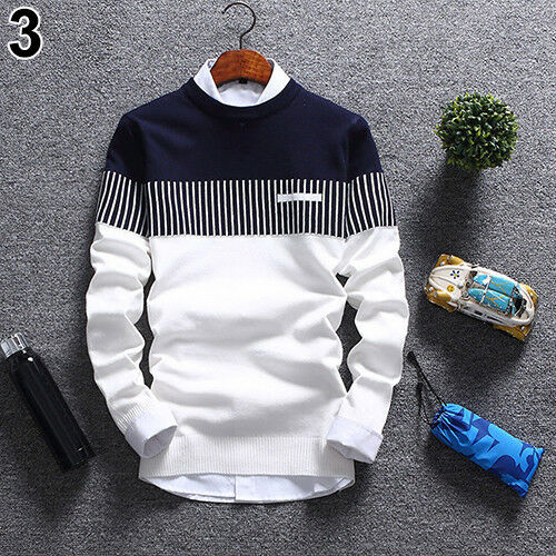 KE_Mens Fashion Strip Color Knitwear Jumper Pullover Sweater Tops Casual Clothes Clothing, Shoes & Accessories