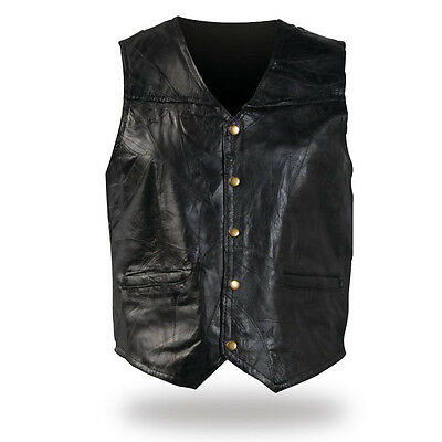 Leather motorcycle vest jacket for country biker ! Big Size S ~ 7XL ! NEW