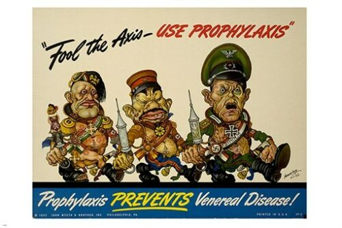 VENEREAL DISEASE PREVENTION AD POSTER vintage cartoon military men 24X36