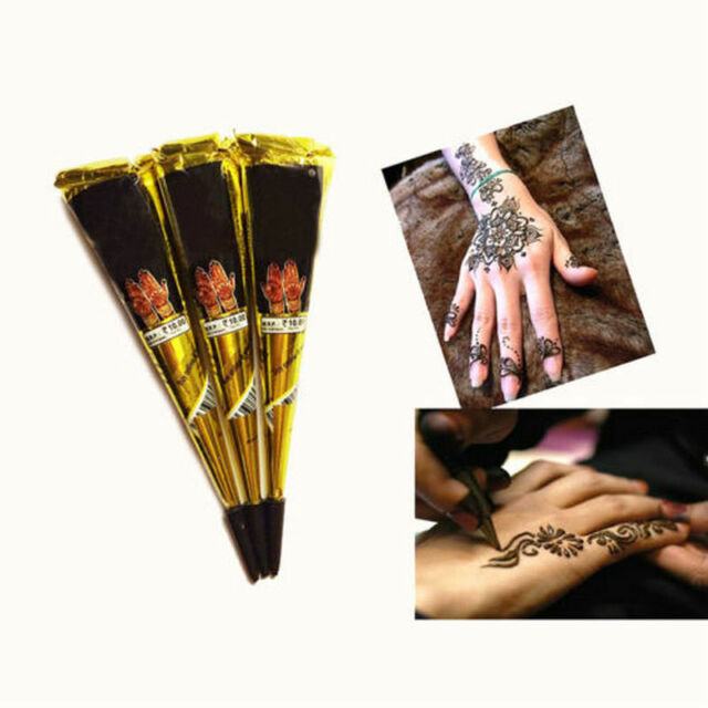 c013332587212 Black Temporary Tattoo Kit Natural Herbal Henna Cones Body Art Paint  Mehandi Ink for sale online | eBay