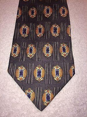 Angemessen Amherst And Brock Herren Krawatte Dunkelgrau Mit Gold Orange Und Blau 4 X 59 Moderater Preis