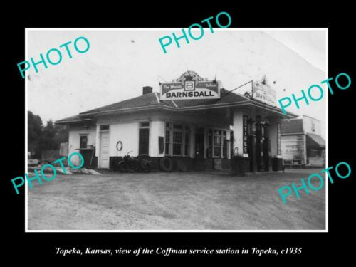 OLD 8x6 HISTORIC PHOTO OF TOPEKA KANSAS, THE COFFMAN SERVICE STATION c1935