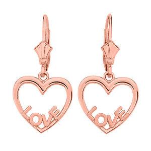 f1df0343aadf9 Details about 14K Rose Gold Open Heart Love Words Drop / Dangle Leverback  Earrings