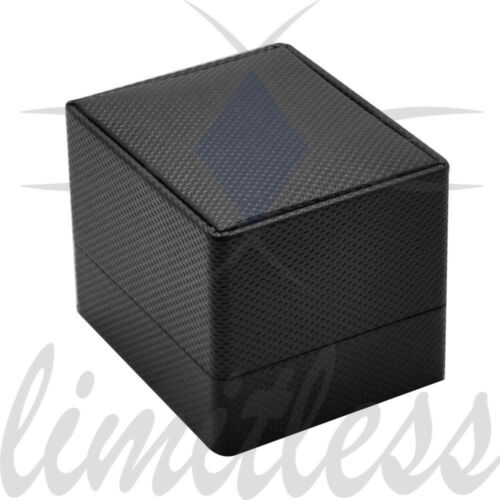 BLACK FANCY TEXTURED SINGLE RING BOX