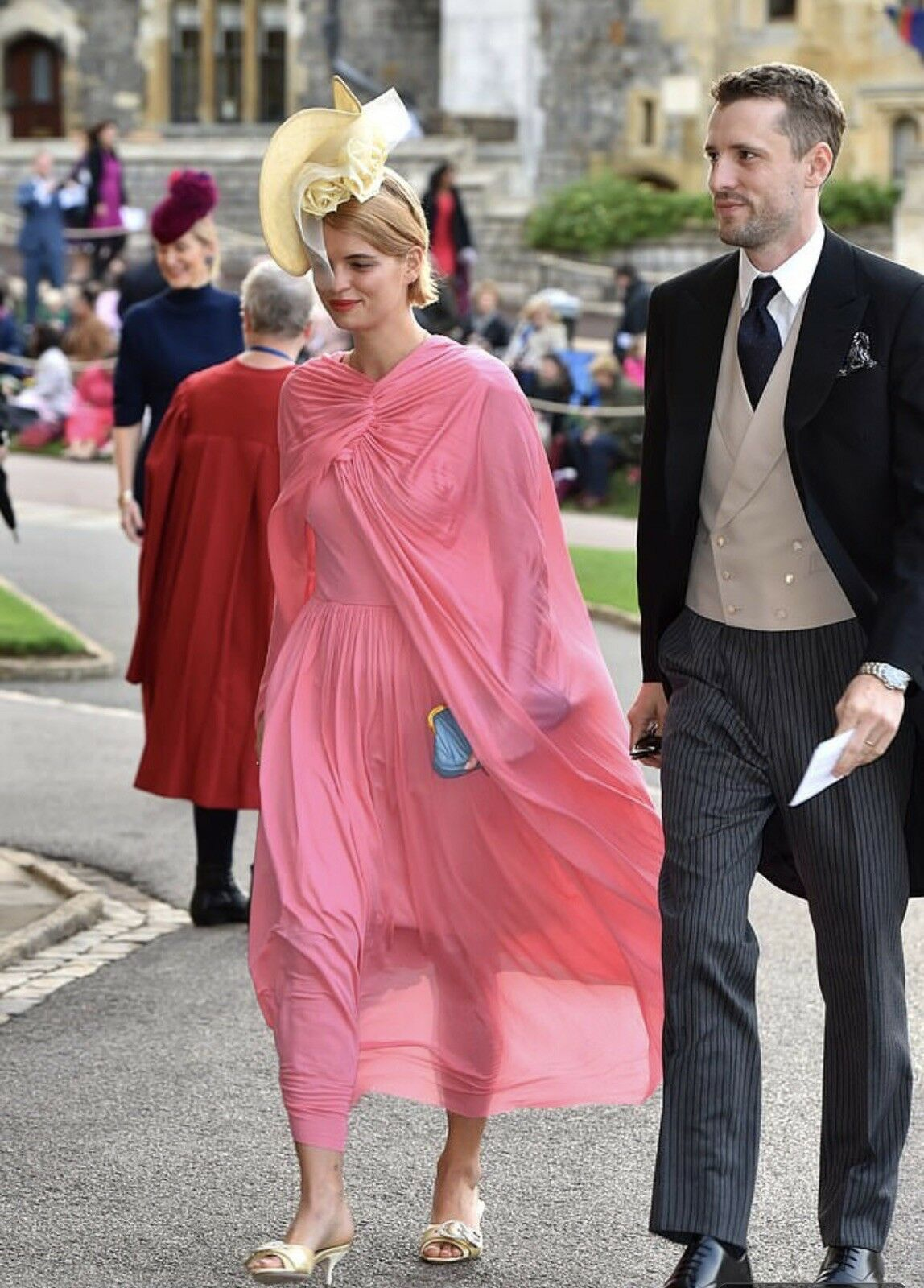 Seen @ The Royal Wedding Celine Phoebe Philo Pink Jersey Cape Runway Dress 2017