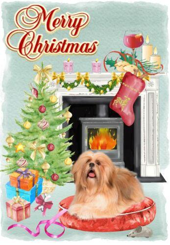 "4/"" x 6/"" Blank inside by Starprint Christmas Card Lhasa Apso Dog A6"