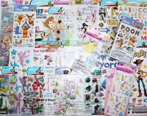 HUGE-LOT-20-pkgs-Disney-Scrapbooking-Stickers-Mickey-Brave-Fairy-Princess