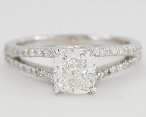 1-3-ct-Platinum-Cushion-Cut-Diamond-Split-Shank-Engagement-Ring-GIA-D-SI1