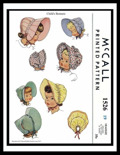 McCall 1526 BABY Toddler Easter BONNET Fabric Sew Pattern GIRL Child Hat ~19-20/""