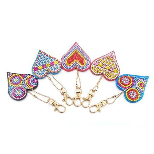 5pcs DIY Full Drill Diamond Painting Love Heart Keychain Cross Stitch Key Ring