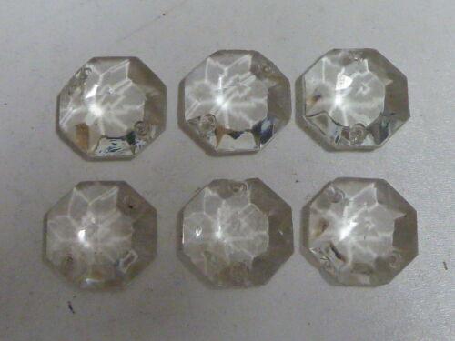 04//19 6 PAMPILLES OCTOGONES avec ATTACHES t:2.80cm pour lustre