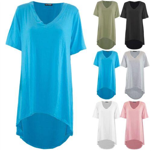 Womens Ladies Round Neck Short Sleeve Long Swing High Low Dipped Hem T-Shirt Top