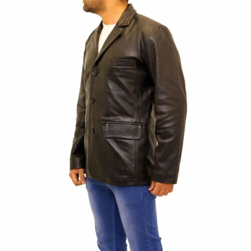 Classic Button Blazer Jacket Casual 3 Black Tailored Mens Smart Leather Fitted qxtzU8