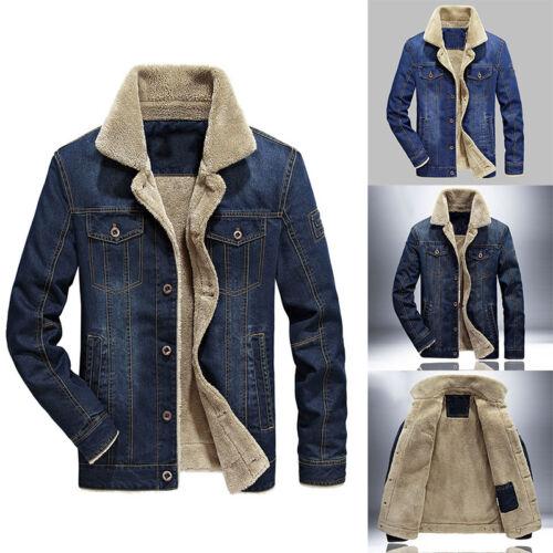 Men Warm Tops Jacket Denim Thick Coats Cowboy Outdoor Comfortable Casual