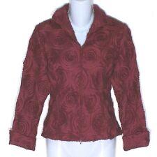 NWOT Beauitful SAMUEL DONG Swirl Pattern Jacket Zip Front Deep Red Cranberry Sm