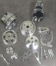 Small Block Chevy Long Water Pump Pulley Kit w Alternator & Power Steering Pump