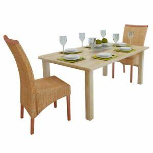 vidaXL-2x-Dining-Chair-Rattan-Brown-Handwoven-Home-Kitchen-Furniture-Seats