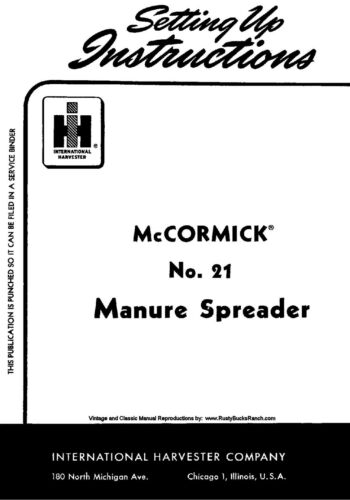 IH McCormick FARMALL Model 21 Manure Spreader Operators and Setting Up manual