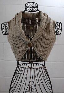 LUX-Tan-Knit-Wooden-Button-Cardigan-Shrug-Cropped-Bolero-Vest-Top-Small-New