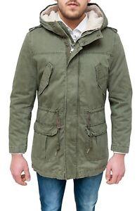 hot sale online ed11d 96898 Dettagli su Parka uomo invernale giaccone eskimo verde militare con  pelliccia da S a 3XL
