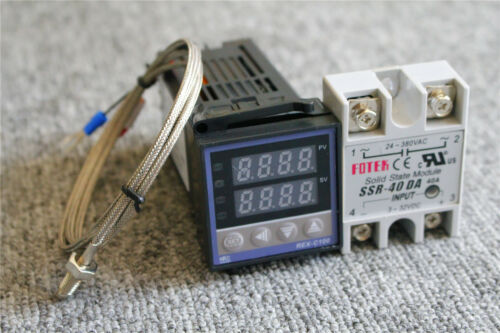 REX-C100 Digital PID Temperature Controller 220V /& Max.40A SSR /& K Thermocouple