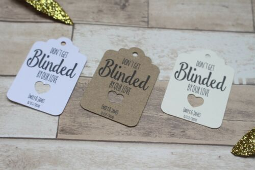 Personalised wedding favour tags-For sunglasses-Don/'t get blinded by our love