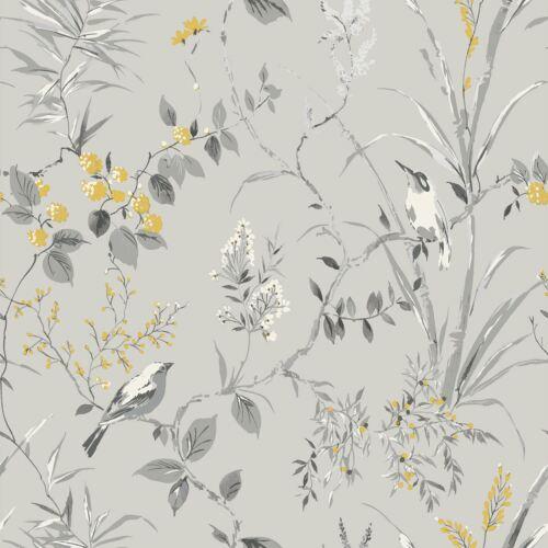 Mariko Oiseau Floral Papier Peint Argent métallisé//gris couronne M1551