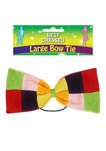 NUOVO-Jumbo-Multicolore-Velour-imbottito-Clown-Farfallino-Clown-Divertente-Costume