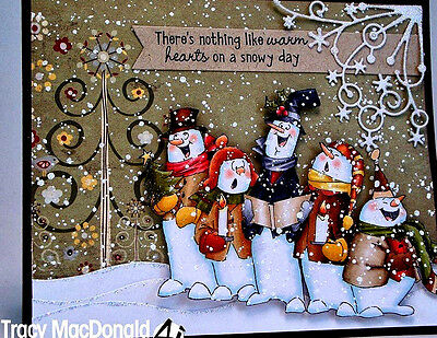 5 SNOWMEN CHOIR (You get photo #2) L@@K@examples ART IMPRESSIONS RUBBER STAMPS