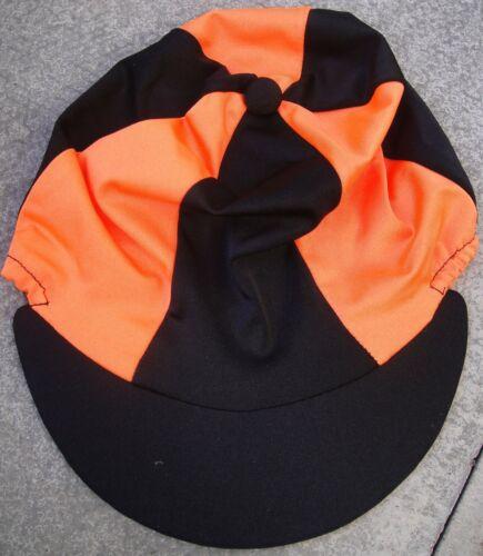 Lycra Riding Hat Silk Skull cap Cover BLACK /& ORANGE With OR w//o Pompom